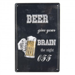 Plechová cedule Beer give your brain the night off